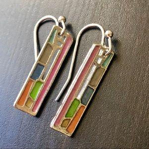 Boho rectangluar multicolor hoop earrings, new